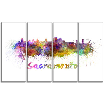 Sacramento Skyline Cityscape Canvas Artwork Print- 4 Panels