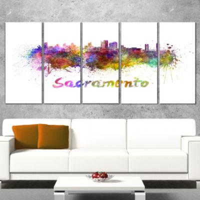 Designart Sacramento Skyline Cityscape Canvas Artwork Print- 5 Panels