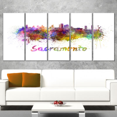 Designart Sacramento Skyline Large Cityscape Canvas ArtworkPrint - 5 Panels