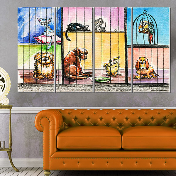 Designart Sad Animals in the Pound Abstract CanvasArt Print- 4 Panels