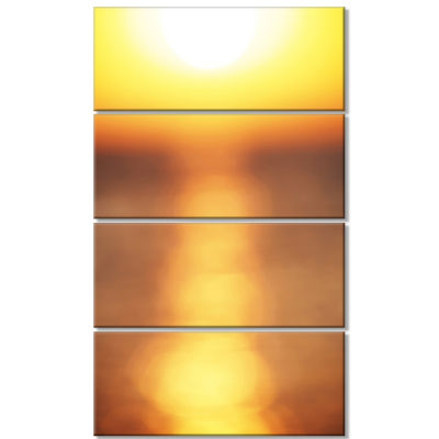 Abstract Yellow Sunset Reflection Landscape Wall Art On Canvas - 4 Panels