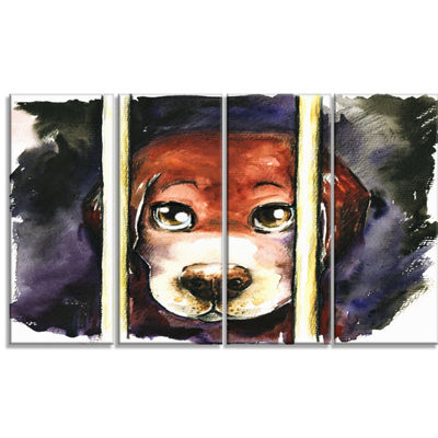 Designart Sad Dog in Animal Shelter Abstract Canvas Art Print - 4 Panels