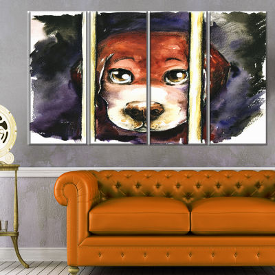Sad Dog in Animal Shelter Abstract Canvas Art Print - 4 Panels