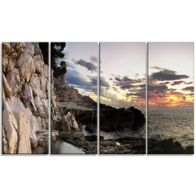 Adiratic Sunset Landscape Photography Canvas Art Print - 4 Panels