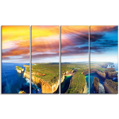 Designart Aerial View of Great Ocean Road Large Seascape Art Canvas Print - 4 Panels