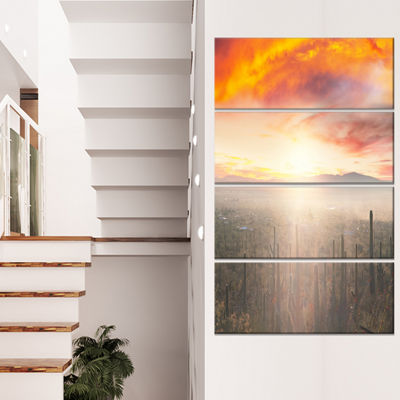 Designart Saguaro Cactus at Colorful Sunset Oversized Landscape Canvas Art - 4 Panels