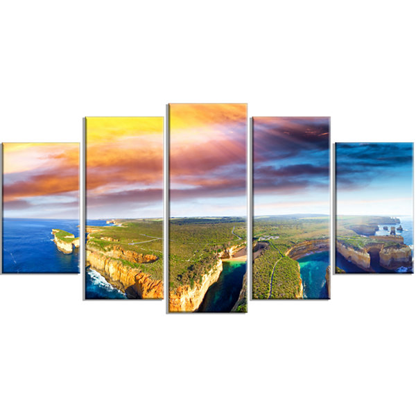 Designart Aerial View of Great Ocean Road Large Seascape Art Wrapped Canvas Print - 5 Panels