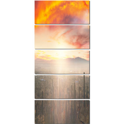 Designart Saguaro Cactus at Colorful Sunset Oversized Landscape Canvas Art - 5 Panels