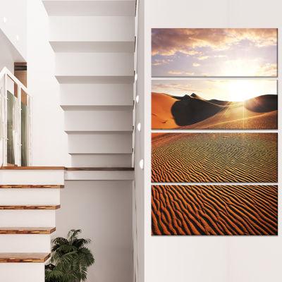 Designart Sahara Desert at Sunset Landscape CanvasArt Print- 4 Panels