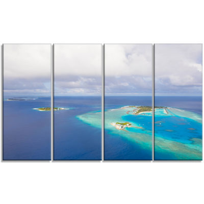 Designart Aerial View of Maldives Island Modern Seascape Canvas Artwork - 4 Panels