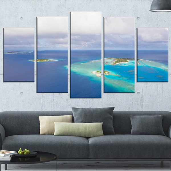 Designart Aerial View of Maldives Island Modern Seascape Wrapped Canvas Artwork - 5 Panels