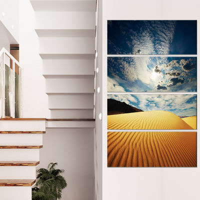 Designart Sahara Desert Under Clouds Oversized Landscape Canvas Art - 4 Panels