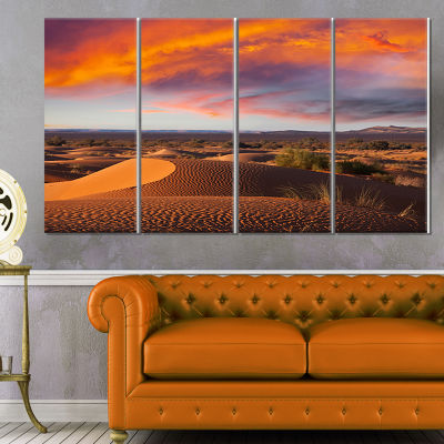 Designart Sahara Dunes Under Colorful Sky Landscape Wall Arton Canvas - 4 Panels
