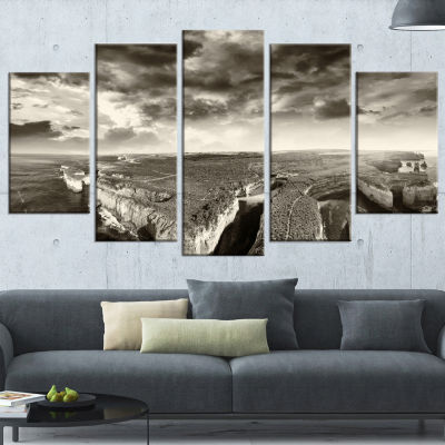 Aerial View of Ocean Road Black Large Seascape ArtWrapped Canvas Print - 5 Panels