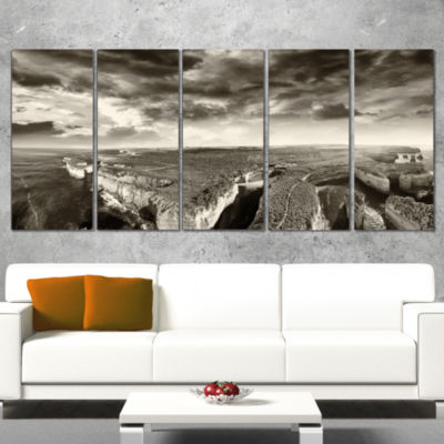 Designart Aerial View of Ocean Road Black Large Seascape Art Canvas Print - 5 Panels