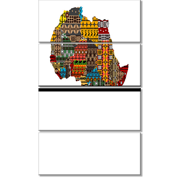 Designart Africa Map with Ethnic Textures AbstractCanvas Artwork - 4 Panels