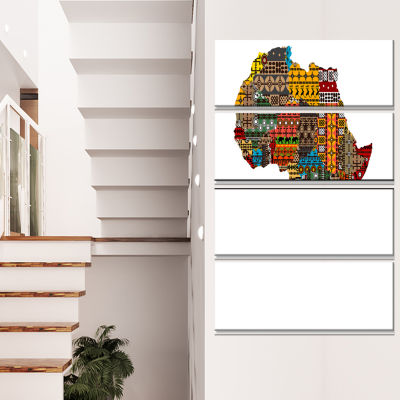 Africa Map with Ethnic Textures Abstract Canvas Artwork - 4 Panels