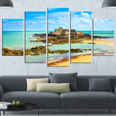 Designart Saint Malo Fort National Beach SeascapeWrapped Art Print - 5 Panels