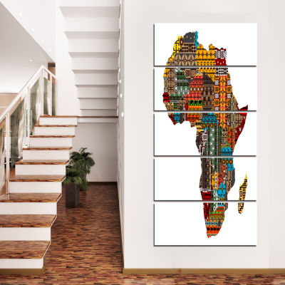 Design Art Africa Map with Ethnic Textures Abstract Canvas Artwork - 5 Panels