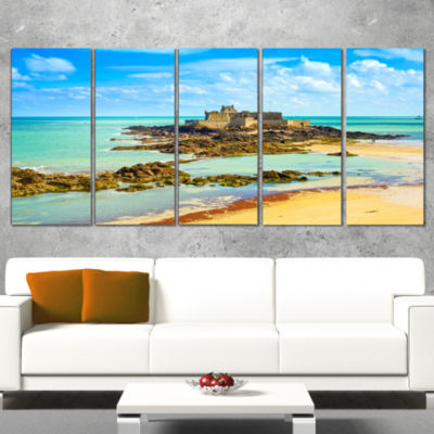 Designart Saint Malo Fort National Beach SeascapeCanvas ArtPrint - 5 Panels