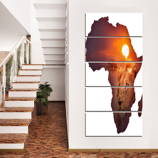 Designart Africa Map with Lion at Sunset AbstractCanvas Artwork - 5 Panels