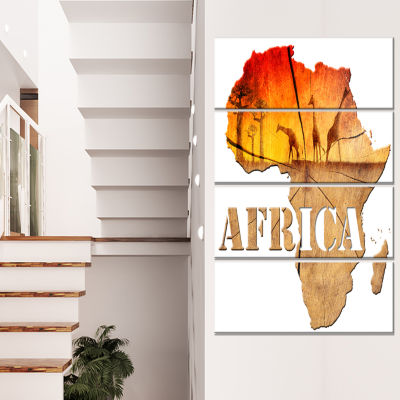 Africa Map Wooden Illustration Abstract Canvas Artwork - 4 Panels