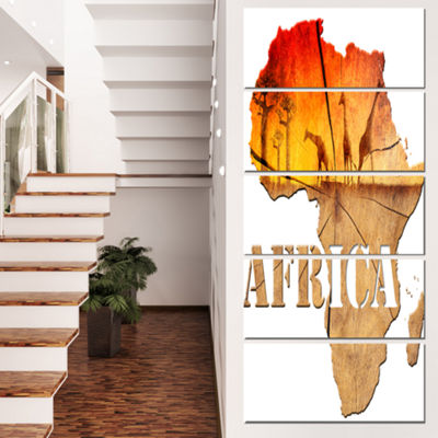 Designart Africa Map Wooden Illustration AbstractCanvas Artwork - 5 Panels