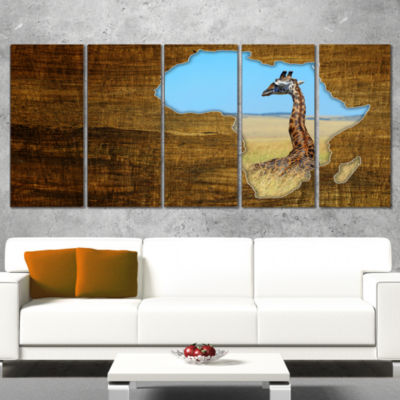 Designart Africa Wildlife Map Design Abstract Canvas Artwork- 4 Panels