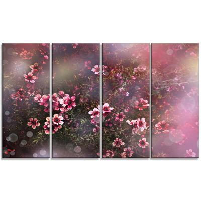 Designart Sakura Japanese Cherry Photography Floral Canvas Print - 4 Panels