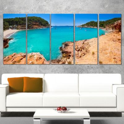 Designart Saladeta Ibiza in San Antonio Modern Seascape Canvas Artwork - 4 Panels