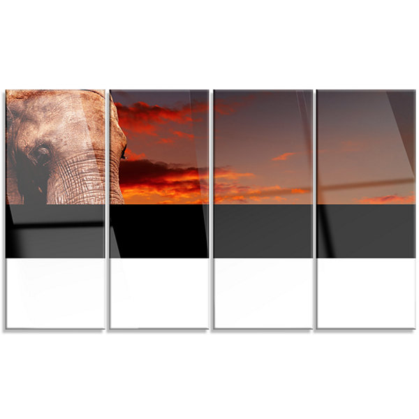 Designart African Elephant with Africans AfricanCanvas Art Print - 4 Panels
