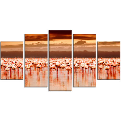 African Flamingos View at Sunset Floral Wrapped Canvas Art Print - 5 Panels