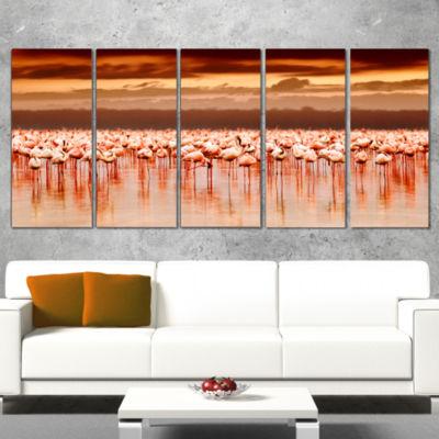 Designart African Flamingos View at Sunset FloralCanvas Art Print - 5 Panels