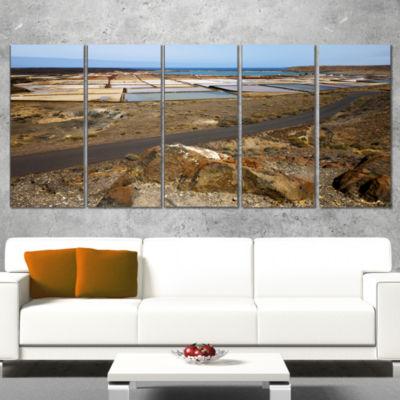 Designart Salt in Lanzarote Spain Musk Pond Seashore CanvasArt Print - 5 Panels