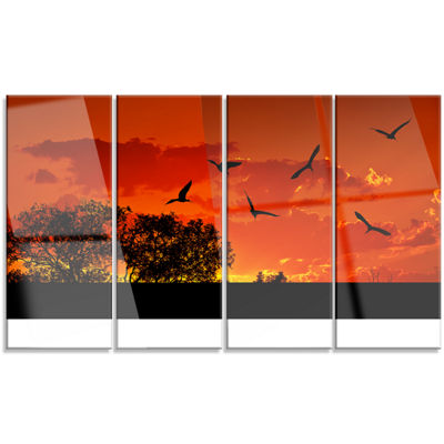 Designart African Landscape with Warm Sunset African Landscape Canvas Art Print - 4 Panels