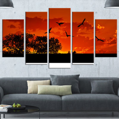 African Landscape with Warm Sunset African Landscape Wrapped Canvas Art Print - 5 Panels