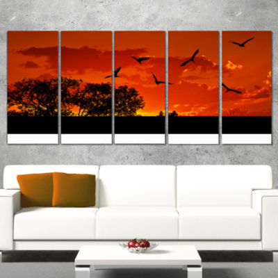 Designart African Landscape with Warm Sunset African Landscape Wrapped Canvas Art Print - 5 Panels