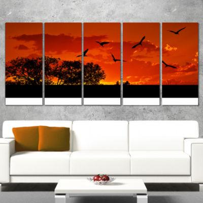 African Landscape with Warm Sunset African Landscape Canvas Art Print - 5 Panels