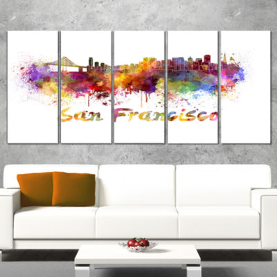 Designart San Francisco Skyline Cityscape Canvas Artwork Print - 4 Panels