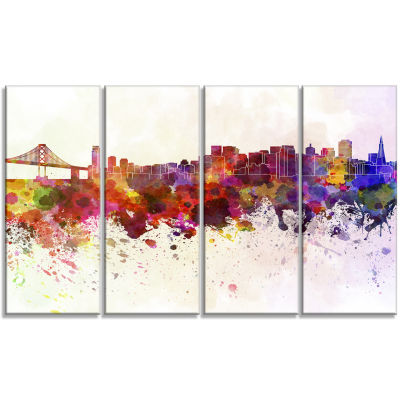 Designart San Francisco Skyline Large Cityscape Canvas Artwork Print - 4 Panels