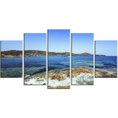 Designart Agay Bay in Esterel Rocks Beach Oversized Beach Wrapped Canvas Artwork - 5 Panels