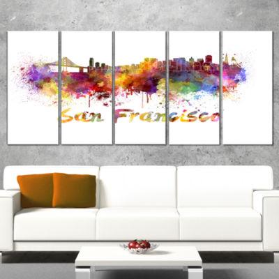 Designart San Francisco Skyline Large Cityscape Canvas Artwork Print - 5 Panels