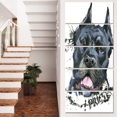 Designart Aggressive Black Dog Illustration AnimalCanvas Wall Art - 5 Panels