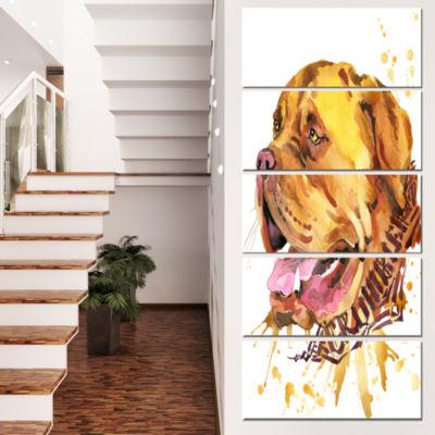 Designart Aggressive Brown Dog Watercolor AnimalCanvas WallArt - 5 Panels