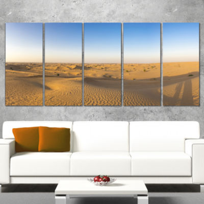 Designart Sand Dunes Desert in Dubai Landscape Artwork Canvas - 4 Panels