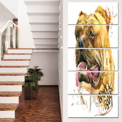Designart Aggressive Funny Dog in Brown Animal Canvas Wall Art - 5 Panels