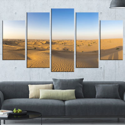 Designart Sand Dunes Desert in Dubai Landscape Artwork Wrapped - 5 Panels
