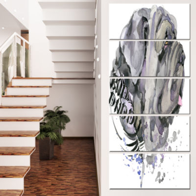 Designart Aggressive Gray Dog Watercolor Animal Canvas WallArt - 4 Panels