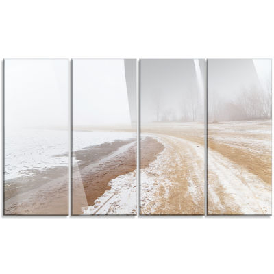 Sandy Beach in the Winter Fog Modern Seashore Canvas Art - 4 Panels