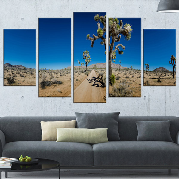 Designart Sandy Desert Road Panorama Oversized Landscape Wrapped Wall Art Print - 5 Panels